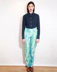 Katie Darlington AW13 Oxwich Print Suit Trouser Photographer: Levi MAcdonald. MUA: Molly Sheridan.