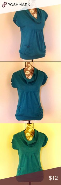 "Heart Soul Teal Sweater Tunic Top 2 Pockets Women's Tunic Sweater / Knit Top (B1)  Size Medium (See Measurements, Below) Short Sleeves Pretty Teal Color Cowl Neck Two Pockets with Button Accent Polished for School/Work, AND Comfy!  Approx Meas:  Underarm to Underarm 17.5"" / Length 25"" - Measured UN-stretched  SMOKE FREE HOME HeartSoul Tops"