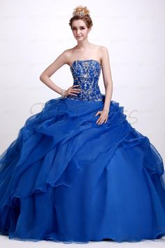 Amazing A-Line Floor-Length Strapless Quinceanera Ball Gown Dress
