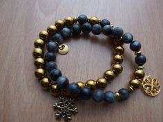 gold hematite, grey labratorite