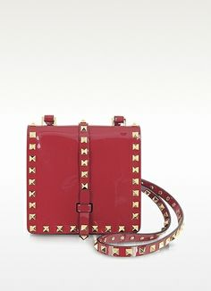 Valentino Garavani Rockstud Red Patent Leather Mini Shoulder Bag ~Another cute Valentino Bag~I love the color ~And the fact that it is on sale ~ I like it even more.Was $1,525 Now priced at $1,068