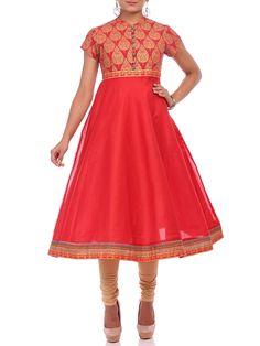 Shop Red Chanderi Flared Kurta online at Biba.in - ZORBA10933RED