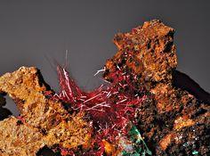 Cuprite var. Chalcotrichite with Malachite  Changmenshan Copper Mine, Jiulang Jiangxi, China