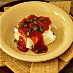 Cream Cheese Appetizer//Have made this with red pepper jelly, too. Yummy!