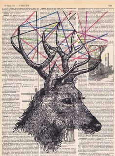 DeerAntique Book Page.gift.home by studioflowerpower on Etsy, $8.50