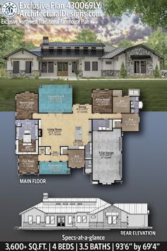 House Plan 430069LY gives you 3600+ square feet of living space with 4 bedrooms and 3.5 baths. AD House Plan #430069LY #adhouseplans #architecturaldesigns #houseplans #homeplans #floorplans #homeplan #floorplan #houseplan New House Plans, Modern House Plans, House Floor Plans, Modern Farmhouse Exterior, Farmhouse Plans, Farmhouse Style, Floor Plan Layout, Flex Room, Ceiling Treatments
