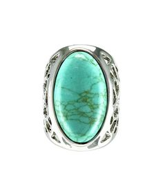 This Silvertone & Turquoise Cutout Oval Ring is perfect! #zulilyfinds