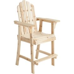 Tall Unfinished Fir Wood Adirondack Chair - Cheaper and better quality than anything I could find locally.This Stonegate Designs that is ranked 58876 in the Ama Wood Patio Chairs, Wood Adirondack Chairs, Bar Chairs, Outdoor Chairs, Wooden Chairs, Office Chairs, Room Chairs, Adirondack Chair Plans Free, Side Chairs
