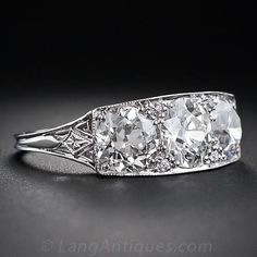 Carat Total Weight Art Deco Three-Stone Diamond Ring - Carat Total We. Antique Style Engagement Rings, Deco Engagement Ring, Engagement Ring Styles, Vintage Diamond Rings, Antique Rings, Diamond Jewelry, Jewelry Rings, Shell Jewelry, Jewellery Box