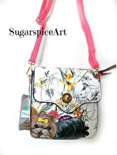 Yorkie Hand Painted Handbag Floral Crossbody Purse Dog Art by SugarspiceArt