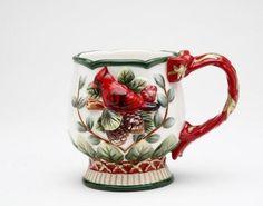 Evergreen Holiday Ceramic Mug Set Of 4 by Cosmos Gifts Christmas China, Christmas Dishes, Christmas Tea, Christmas Colors, Merry Christmas, Porcelain Mugs, Fine Porcelain, Coffee Mug Sets, Mugs Set