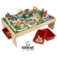 Train Sets 113519: Kidkraft Metropolis Train Table + 100Pc Train Set ...