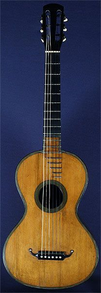 Early Musical Instruments, antique Romantic Guitar by Rene Lacote 1825