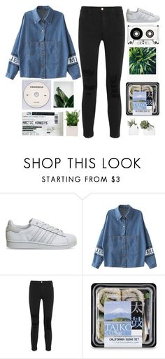 """""""airplanes cut through the clouds"""" by grunge-alien ❤ liked on Polyvore featuring KEEP ME, adidas and J Brand"""