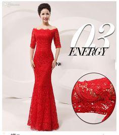 Wholesale Hot Sale!Luxury and Elegant Silk Slim Chinese Long Cheongsam Dress Improved Lace Bateau Half Sleeve Red Bridal Wedding Dress 5 sizes from China :$177.07 | DHgate.com