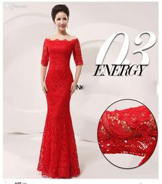 Wholesale Hot Sale!Luxury and Elegant Silk Slim Chinese Long Cheongsam Dress Improved Lace Bateau Half Sleeve Red Bridal Wedding Dress 5 sizes from China :$177.07 | DHgate.com