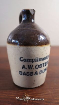 A. W. Osterloh Bass & Dunlap Memphis TN Advertising Miniature Stoneware Jug #AWOsterloh