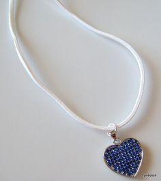 Blue Heart Necklace Heart Jewelry Silver Heart Necklace Royal Blue Necklace Saphire Necklace Royal Blue Jewelry Dark Blue Love Necklace
