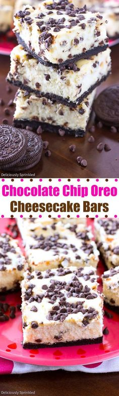 A recipe for Chocolate Chip Oreo Cheesecake Bars. An easy to make chocolate chip cheesecake with an Oreo crust.