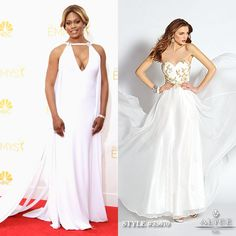 Laverne Cox looked like a goddess on the Emmy red carpet in a flowing white dress. ALYCE Paris style #35670 can give you a similar flowy vibe!