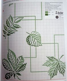 ideas for embroidery leaf stitch beautiful Cross Stitch Kitchen, Modern Cross Stitch, Cross Stitch Designs, Cross Stitch Patterns, Embroidery Leaf, Cross Stitch Embroidery, Embroidery Patterns, Crochet Patterns, Cross Stitch Pillow