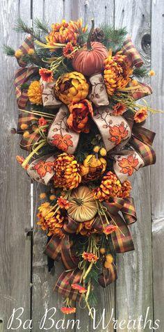Fall Wreath Fall Swag Autumn Swag Autumn Wreath by BaBamWreaths Thanksgiving Wreaths, Autumn Wreaths, Thanksgiving Decorations, Christmas Wreaths, Wreath Fall, Fall Swags, Fall Arrangements, Baskets On Wall, Deco Mesh Wreaths