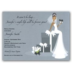 Bride On Gift African American Bridal Shower Invitations