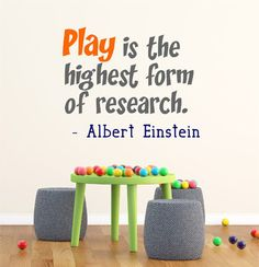 Play Is The Highest Form Of Research Albert Einstein Wall Quote Vinyl Wall Decal Sticker