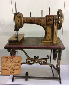 This 1870 sewing machine patent model accompanied William T Smith's application for patent No. 99,743.