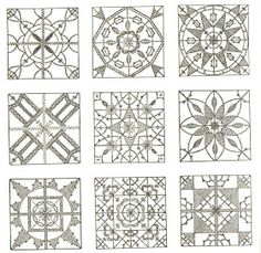 Accoding to Sian, these are lace patterns that look as if they are a structure called Reticella lace which is a 16th century Italian lac...