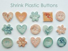 How to make buttons out of shrink plastic using a die cutter, VersaMark ink and chalks.