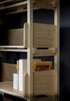 Shelving unit in oak with a white oil finish. A contemporary-modern standalone bookcase from Pinch design. Lombard Shelving unit.