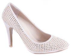 Pantofi cu toc - Pantofi bej cu toc LA-16 - Zibra
