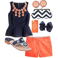 Navy and coral by preppyclothes on Polyvore featuring J.Crew, Jack Rogers, Aqua and Kate Spade