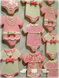 Pretty in Pink & Pearls Baby Girl Shower Decorated Cookies by You Can Call Me Sweetie