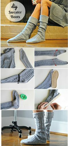 recycled sweater and dritz soles