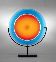 Rondel: Orange by Casey Hyland: Art Glass Sculpture available at www.artfulhome.com
