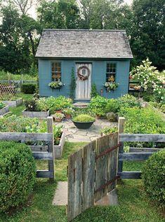 cottage garden decor Take Two Country Gardens Cottage Garden Design, Diy Garden, Dream Garden, Home And Garden, Country Cottage Garden, Country Decor, The Cottage, Small Garden Cabin, Country Garden Decorations