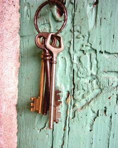 Pink Green Wall Art, Entry Way Decor, Antique Skeleton Keys Print, Cottage Chic, Mint Green Art, Old