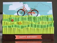 Love the fringe grass! to her -Papercraft- postboard via the Juxtapost bookmarklet. Happy Birthday Bicycle, Happy Birthday Cards, 4th Birthday, Hand Made Greeting Cards, Making Greeting Cards, Cool Cards, Diy Cards, Bicycle Cards, Scrapbook Cards