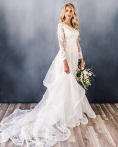 Cute Modest Wedding Dresses To Inspire ★ modest wedding dresses a line with long sleeves lace elizabethcooperdesign Boho Wedding Dress With Sleeves, How To Dress For A Wedding, Western Wedding Dresses, Stunning Wedding Dresses, Applique Wedding Dress, Classic Wedding Dress, Long Sleeve Wedding, Princess Wedding Dresses, Modest Wedding Dresses
