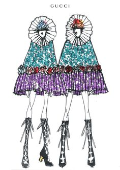 An Alessandro Michele sketch for the backing dancers on Madonna's Rebel Heart tour