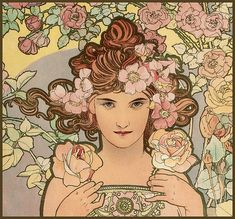 Les Fleurs: The Rose (detail), by Alphonse Mucha, 1898. Colour lithograph | Private collection