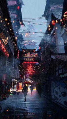 Changan-Moon: Street view of the Chinese city in the Zi .- Changan-Moon: Straßenansicht der chinesischen Stadt in der Zukunft – Changan-Moon: Street View of the Chinese City in the Future – the - Aesthetic Japan, City Aesthetic, Travel Aesthetic, Aesthetic Anime, Purple Aesthetic, Aesthetic Dark, Summer Aesthetic, Aesthetic Images, Cyberpunk City