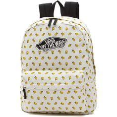 Vans x Peanuts Realm Backpack (150 PLN) ❤ liked on Polyvore featuring bags, backpacks, white, vans backpacks, vintage backpacks, logo backpacks, pocket backpack and vintage knapsack