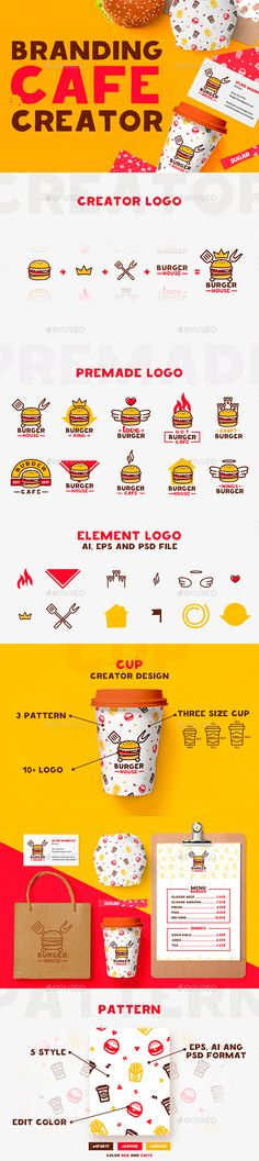 Creator Branding / Cafe / Fast #Food - #Graphics Download here: https://graphicriver.net/item/creator-branding-cafe-fast-food/19368401?ref=alena994
