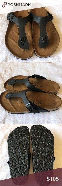 Birkenstock Sandals .... Birkenstock thong Sandals Gizeh Flip Flop Sandals Faux Black Leather Beige Cork Sole Comfort Fit German Shoes Adjustable Buckle strap New with Box size 42 [11 - 11.5 ] Birkenstock Shoes Sandals