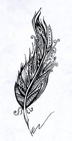 Drawing, inspired by pinterest. Feather, draw, graphic #JNdrawing