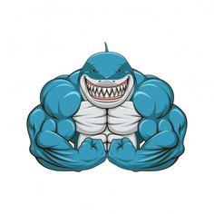 innagrom Muscular Shark Gym Home Decal Vinyl Sticker X Big Muscle Training, Gym Logo, Mascot Design, Great White Shark, Dorm Decorations, Bodybuilder, Animals And Pets, Vector Art, Art Drawings