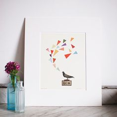 "FREE SHIPPING Pigeon Radio. Matted 8x10"" Giclee print - Geometric Art, Bird Art, Radio, Music Art, Retro, Gift for Man"